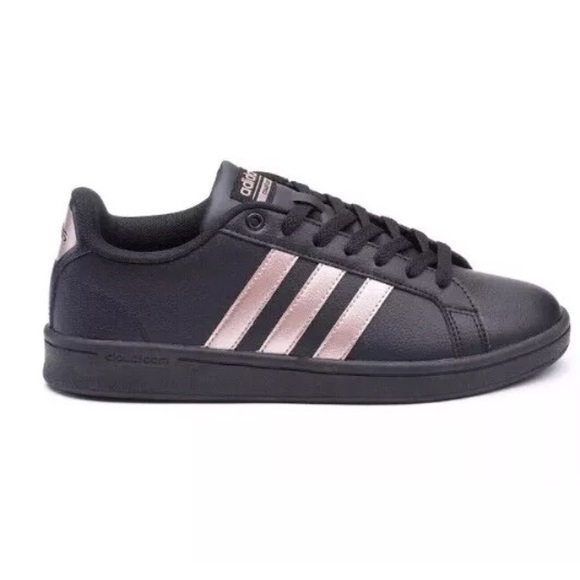 sale retailer 49771 174be ADIDAS Neo Cloudfoam Shoes Black   Rose Gold 8.5